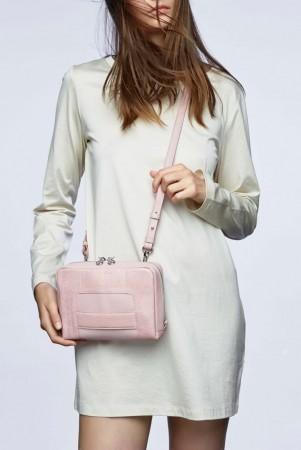 Lilli pink salmon leather shoulder bag clutch