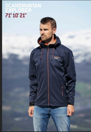 Scandinavian Explorer softshelljakke unisex navy/orange