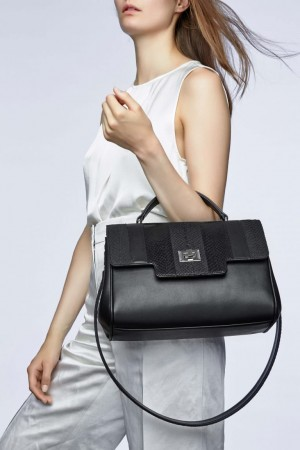 Lillian black salmon leather shoppingbag