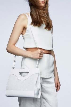 Jenny white salmon leather top handle bag
