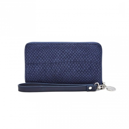 Wallet artic blue salmon leather