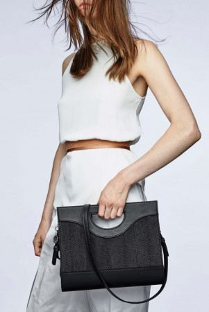 Jenny black salmon leather top handle bag
