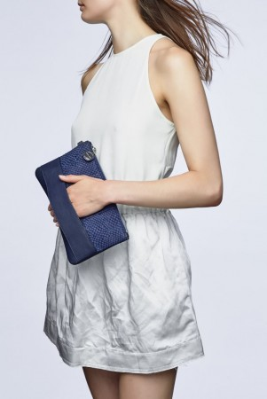 Nina arctic blue salmon leather handbag